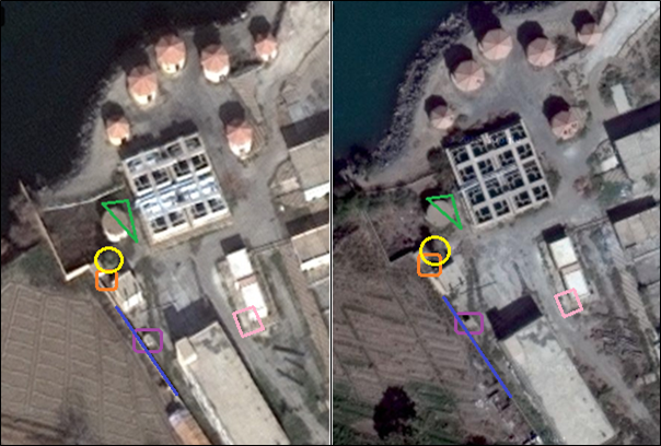 Satellite imagery from Google Maps (October 10, 2014; left) and Microsoft Bing (January 2013; right).