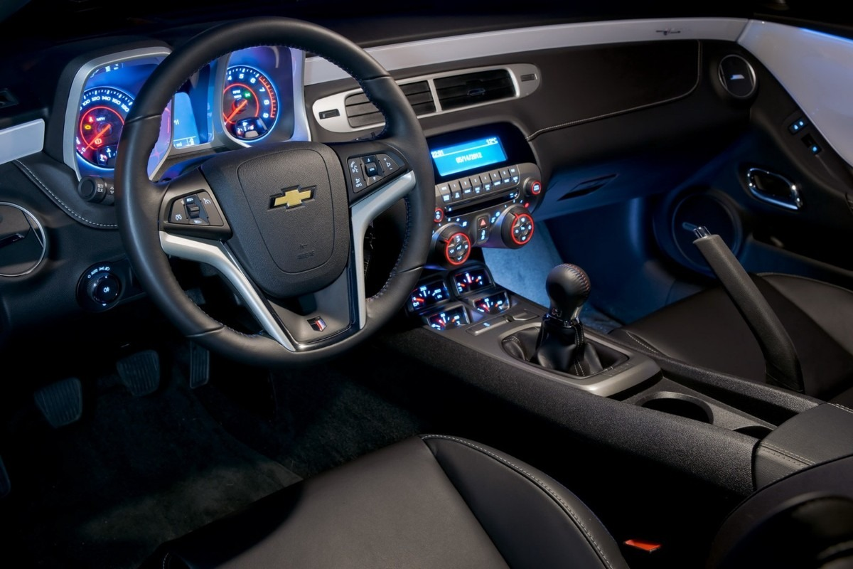 The interior of a 2013 Chevrolet Camaro, matching the photograph posted on Instagram.