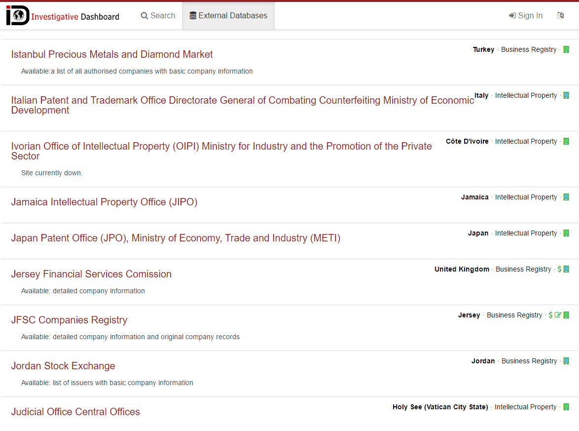 Screenshot of the OCCRP's Investigative Dashboard listing of public databases.