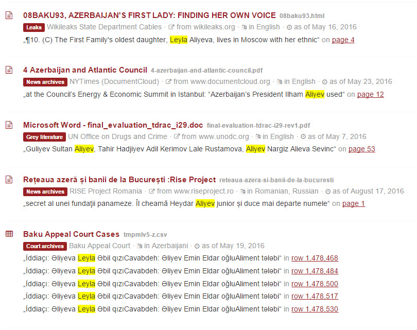 Screenshot from the OCCRP Investigative Dashboard search for Leyla Aliyeva