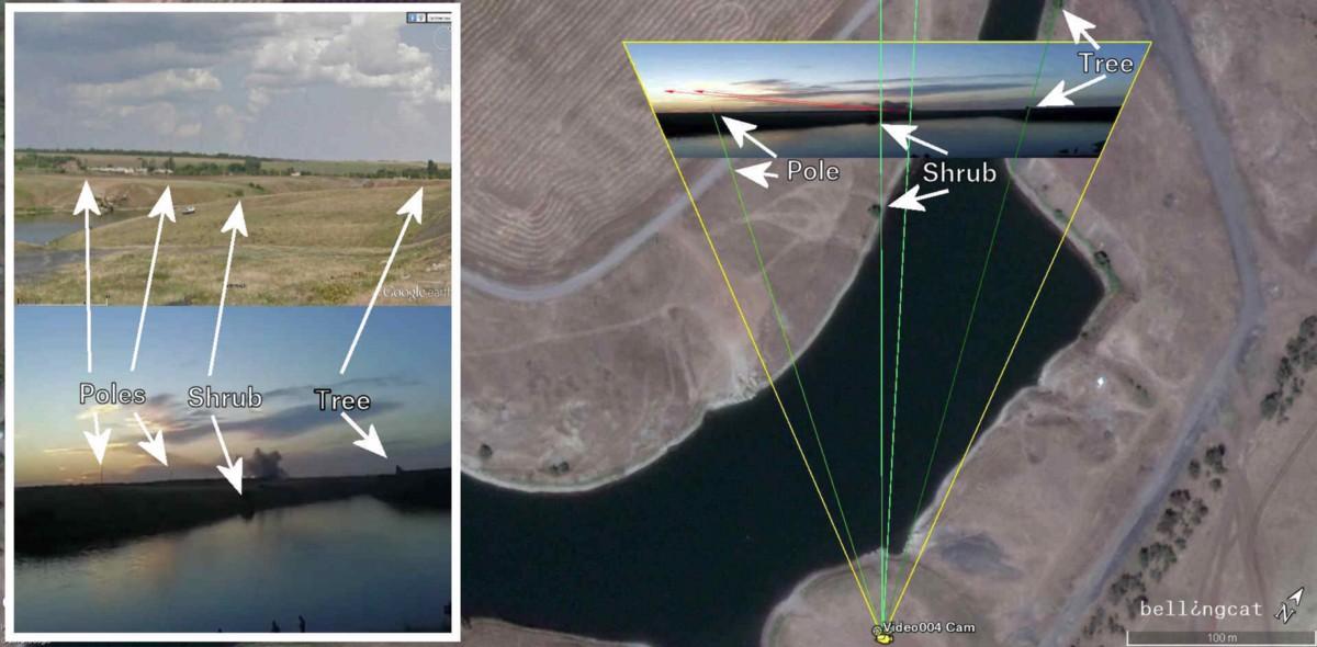 Сравнение видео огня «Града», снятого к северо-западу от Гуково (внизу слева), изображения Google Street View (вверху слева) и спутникового снимка (справа).