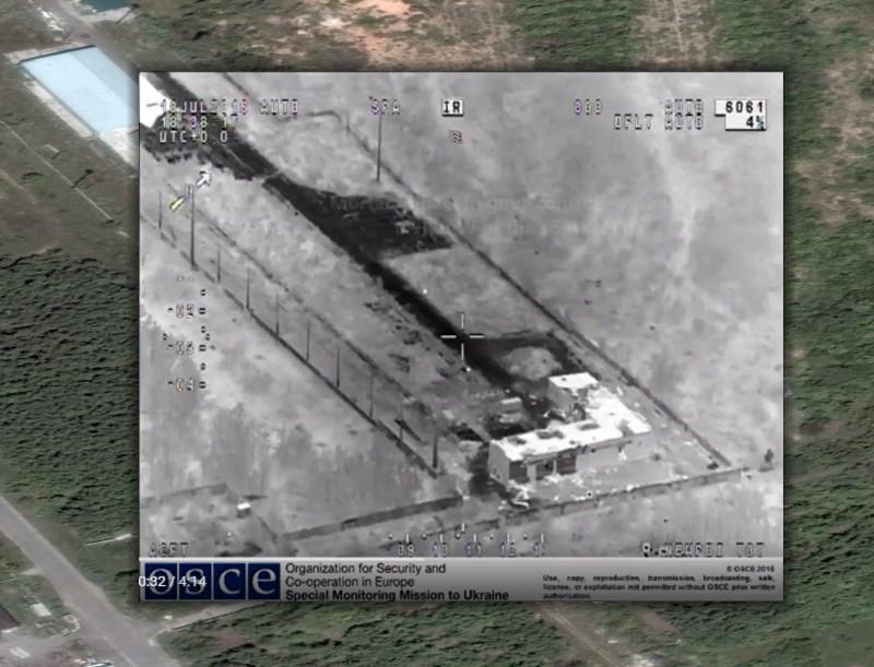 Наложение скриншота видео с БЛА СММ ОБСЕ и спутникового снимка Google Earth (координаты: 48.120496, 37.793191).