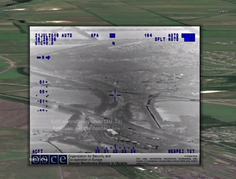 Наложение скриншота видео с БЛА СММ ОБСЕ и спутникового снимка Google Earth, направление съемки — на запад в сторону Ясиноватой и Авдеевки.