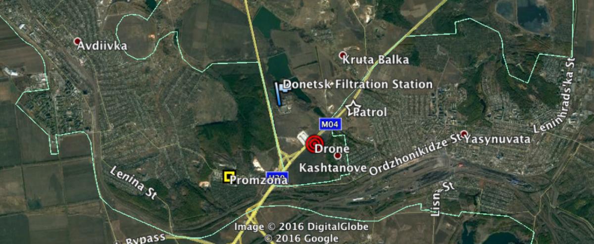 Беспилотник ОБСЕ упал возле Донецкой фильтровальной станции