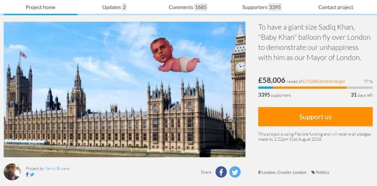 Пользователь, организовавший сбор средств для запуска гигантского шара с изображением Садика Хана над Лондоном, замечен в антисемитских высказываниях в Twitter