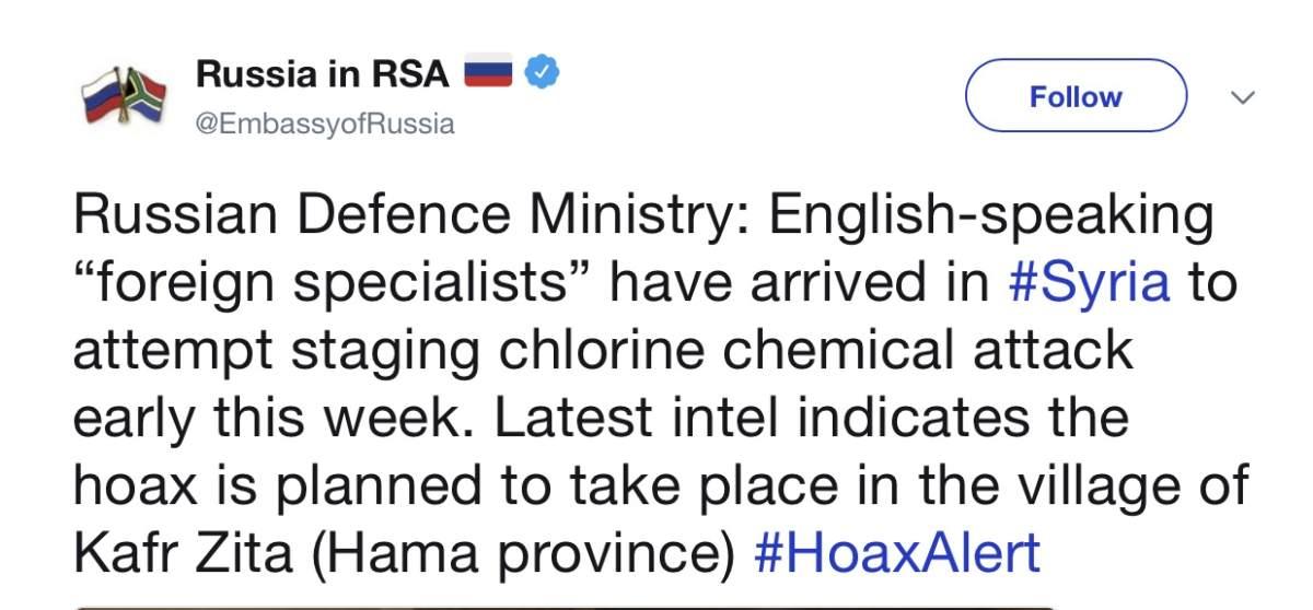 Россия вновь начала дезинформацию о химическом оружии перед наступлением на Идлиб
