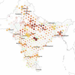 Поиск в твиттере по геокоду на примере COVID-кризиса в Южной Азии